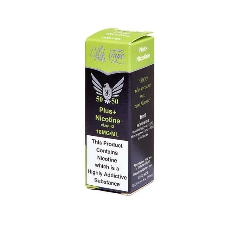 18mg City Vape Flavourless Nicotine Shot 10ml (50V...