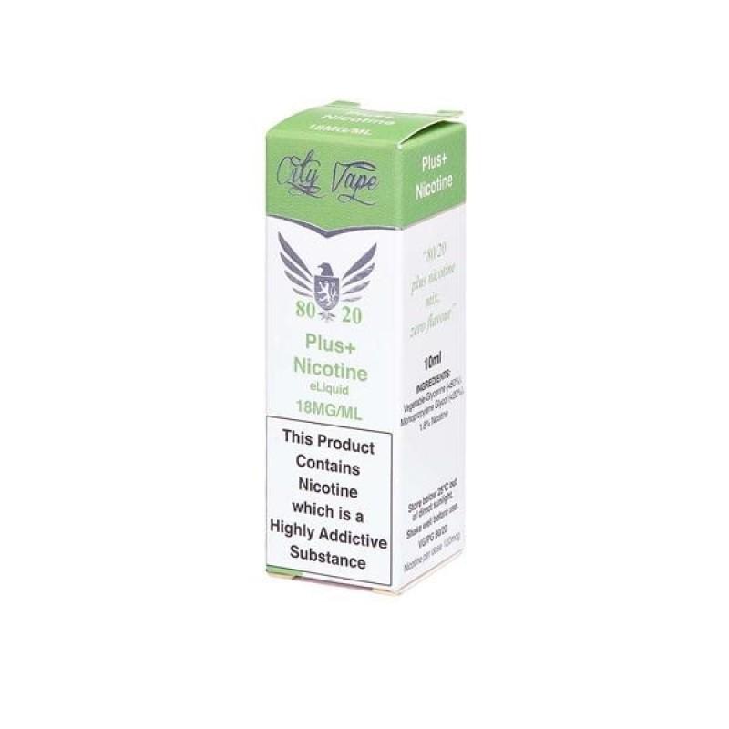 18mg City Vape Flavourless Nicotine Shot 10ml (80V...